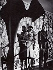 Peggy Guggenheim and Jackson Pollock with Pollock's Mural | 1943 | Guggenheim's New York City apartment