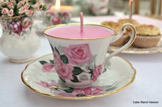 Vintage Tea Cup Candles make beautiful gifts. Choose from a collection of pretty bone china vintage tea cup candles hand made with fragrant scents UK. Summer Wedding Favors, Candle Wedding Favors, Candle Favors, Candle Holders, Tea Cup Saucer, Tea Cups, Alice Tea Party, Vintage Candles, Vintage Teacups
