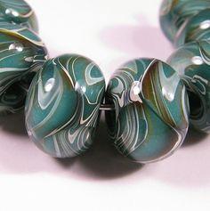 Lampwork beads - Teal Sands Prisms - Lampwork Boro Glass Beads - bbglassart on Etsy, $29.99