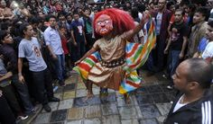 Nepalese mask dance locally known as Lakhe dance is performed during the 4th day of Indra Jatra festival at Basantapur Durbar Square in Kath...