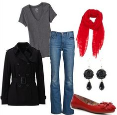 Valentines day ideas  Casual Red Outfit, black peacoat and red flats