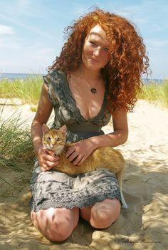Irish girl and cat.
