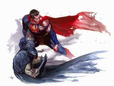 """The previous pinner called this """"Batman vs. Superman"""" but I disagree. It looks like Superman is helping Batman up more than taking him down. Comic Book Characters, Comic Character, Comic Books Art, Comic Art, Batman Vs Superman, Batman Art, Marvel Comics, Arte Dc Comics, Smallville"""