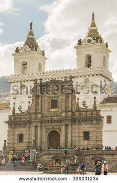 QUITO, ECUADOR, OCTOBER -2015 -Main facade of ancient San Francisco catholic church located in the historic center of Quito in Ecuador.