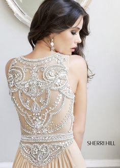 Sherri Hill 11069 - Nude/Silver Beaded Chiffon Dress - RissyRoos.com