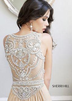 Sherri Hill 11069 - Nude/Silver Beaded Chiffon Dress - RissyRoos.com