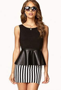 Faux Leather Peplum Top | FOREVER21 - 2055317191