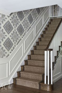 classic stairs with runner and pattern wallpaper : Washington DC Interior Design: SCW Interiors by Shazalynn Cavin-Winfrey