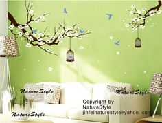 cherry blossom wall decals birds vinyl wall decals by NatureStyle, $58.00