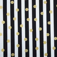 Black, White & Gold Dot & Stripe Apparel Fabric