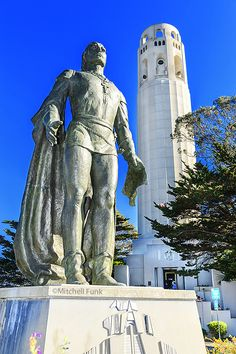 Statue of Christopher Columbus in Front of Coit Tower, San Francisco www.mitchellfunk.com