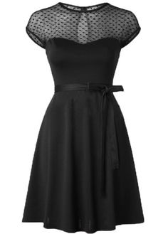 Mesh Panel Cap Sleeve A Line Dress | lulugal.com