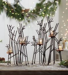 This Partylite candle holder set will help you set the perfect mood using candles. Unique Candle Holders, Candle Holder Set, Forest Wedding, Woodland Wedding, Twig Centerpieces, Partylite, Beautiful Candles, Tis The Season, Twinkle Twinkle