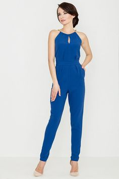 Looking for Culotte Jumpsuits? Call off the search with our Blue Halter Neck Jumpsuit. Shop unique fashion at SilkFred Blue Jumpsuits, Short Playsuit, Overall, Halter Neck, Elegant, Looking For Women, Fashion Addict, Unique Fashion