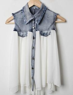 Shirt: blouse top sleveless denim distressed skirt blue half and half acid wash flowy satin soft