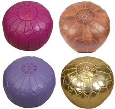 Leather Pouf in gold