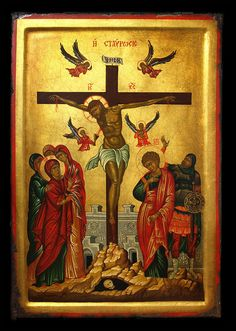 Hand painted and aged Byzantine icon of the crucifixion of Jesus. Images Of Christ, Religious Images, Religious Icons, Religious Art, Byzantine Art, Byzantine Icons, Crucifixion Of Jesus, Religion Catolica, Russian Icons