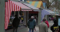 Shop Awnings on Norwich Market.