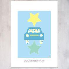 Jubel - A3 Poster, Blue Star Car, 297 x 210 cm matt paper, by Jubelshop on Etsy. www.jubelshop.no