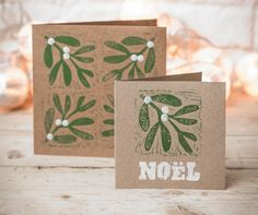 Make Your Own Christmas Cards - Mistletoe and Holly Block-Print Cards