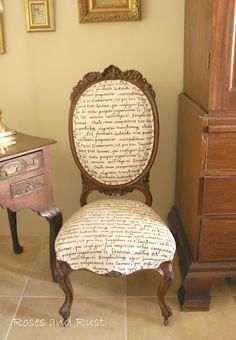 Roses and Rust: African Sketchbook. Beautiful chair with script fabric.