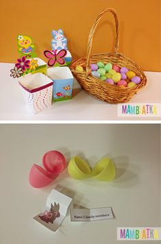 Use plastic eggs to organize a great Easter game. Practice vocabulary with you students.
