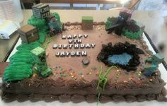 Easy DIY Minecraft birthday cake. Bought cake from store bakery. Remove the bakery decorations (this one had balloons made of frosting). Added oreos to build up walls. Frosted with homemade butter cream frosting. Cut out part of cake for pond, added blue frosting, edged with Oreo crumbs. Added minecraft toys and lettering and done!