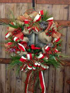 Christmas Burlap Wreath by WilliamsFloral on Etsy, $95.00