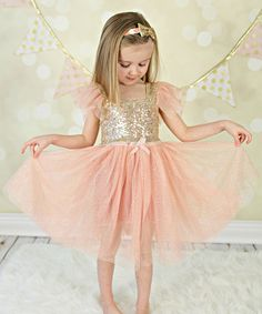 Loving this Vintage Pink & Gold Sequin Dress - Infant, Toddler & Girls on #zulily! #zulilyfinds