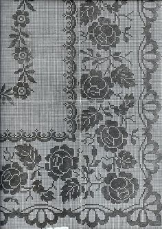 This Pin was discovered by Kat Cross Stitch Pillow, Cross Stitch Borders, Cross Stitch Rose, Cross Stitch Embroidery, Cross Stitch Patterns, Crochet Curtains, Crochet Tablecloth, Crochet Doilies, Thread Crochet