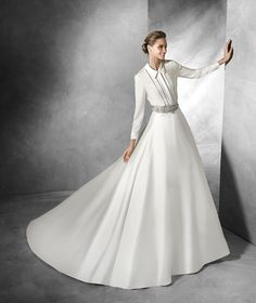 SAJA - Shirt with long sleeves in crepe | Pronovias
