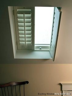 See our gallery of specialty shaped window treatments. Exciting Windows can create a custom window treatment for specialty windows, from shutters to grass cloth shades. Skylight Covering, Skylight Shade, Skylight Blinds, Skylight Window, Roof Window, Skylights, Attic Bathroom, Attic Rooms, Bathroom Interior