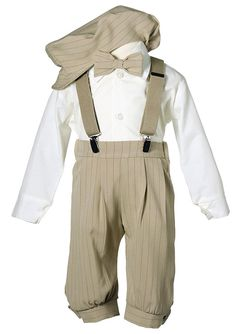 1920s Children Fashions: Girls, Boys, Baby Costumes Boys Toddler Knicker Set with Suspenders and Hat - Vintage Tan Stripe $42.95 AT vintagedancer.com