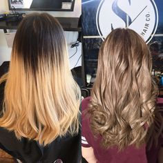 Hair color correction. Before and after. Ash blonde hair. Ash blonde balayage. Transformation.