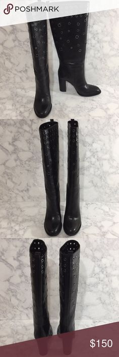 "Nine West Black Leather Studded Knee High Boots Pull on boots • 3 3/4 inch heels • 7.5"" across top of calf Nine West Shoes Heeled Boots"