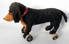 Ex.rare Antique  dog  German Pull Toy  wooden wheels  12 inches ..