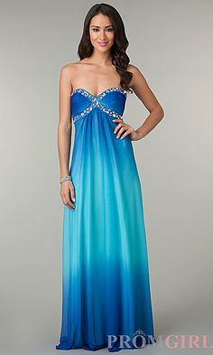 Long Strapless Sweetheart Blue Ombre Dress at PromGirl.com