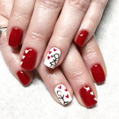 Valentine nails. Gel nails. Red nails. Heart nails. Hand painted nail art. Stick figure nails