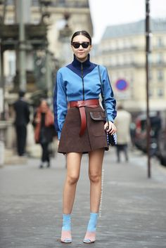 Ways to Wear Spring's Biggest Trend: The Brown Suede Skirt - blue sports jacket, belted a-line brown suede skirt + blue socks and heels