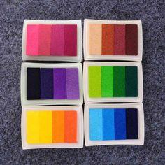 Art Crafts DIY Gradient Color Ink Pad Multicolour Inkpad Stamp Decoration Fingerprint Scrapbooking Accessories 2017 Hot  HG99