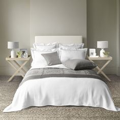 Savoy is our ultra smooth Egyptian cotton percale bed linen, which has an exquisitely soft feel and a beautiful drape. Made exclusively for us in Portugal, this collection is finished with an immaculate trim of densely stitched cord. Neutral Bedroom Decor, Cosy Bedroom, Bedroom Bed, White Bedroom, Bedroom Ideas, Master Bedroom, Bedrooms, White Bedding, Linen Bedding