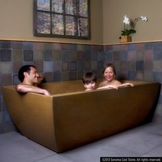 The feel of cast stone on your skin is something that can't be described, but we offer optional, embedded heating coils, because people just don't want to get out. The contoured bottom makes this tub even comfortable without water. Roomy enough for two. All products made in America from sustainable EarthCrete™ Concrete. Stronger, lighter, in a great variety of colors and finishes, EarthCrete™ is the best concrete on earth. See tub fillers designed for these freestanding tubs at… Concrete Bath, Cast Stone, Bath Tub, Made In America, Getting Out, Tubs, Master Bath, Your Skin, Lighter