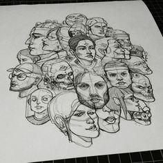 Portrait study - heads.