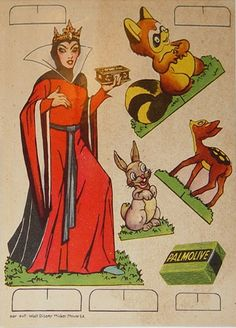 Didney Snow White & the Seven Dwarfs Paper doll. Palmolive soap