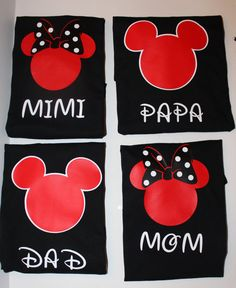 Disney Matching Family shirts or Individual Minnie and Mickey Disney Custom T-Shirts, Disney family shirts