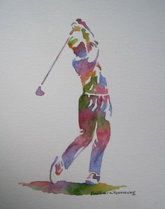 Golf Man, Barbara Rosenzweig, Art Print, Etsy, Sports Gift for Him, 11x14 Reproduction of Original Watercolor Painting. $34.00, via Etsy.