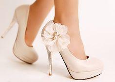 Ivory Lace Flower Glitter High Heel Platform Women Party Wedding Shoes | eBay