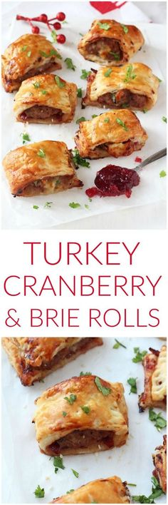 A delicious festive take on the classic sausage roll, made instead with turkey mince, cranberry sauce and brie. These mini pastry rolls will make a fantastic appetizer of party snack this Christmas! christmas food and drink Christmas Buffet, Christmas Party Food, Xmas Food, Christmas Cooking, Christmas Turkey, Christmas Christmas, Christmas Heaven, Christmas Entertaining, Thanksgiving Recipes