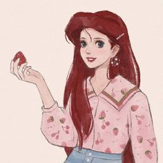 Modern Ariel holding a delicious strawberry Disney Now, Disney Fan Art, Cute Disney, Tinkerbell Disney, Disney Cruise, Disney Stuff, Walt Disney, Alternative Disney Princesses, New Disney Princesses