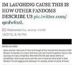 """It's funny because it's true (': -- its kinda hard to read soo -- """"Does anyone else just sit there and laugh at the Directioners because their fandom is literally so insane that they just can't hold it together they're like a group of crazy conspiracy theorist who like plot about aliens or something i don't even know just like wow it must be hard to be in that fandom. im not tagging this because im actually afriad of some of them"""""""